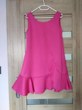 Sukienka różowa 36 S luźna, tzw. ciążowa