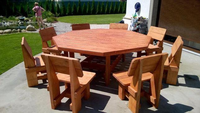 ławki ogrodowe meble ogrodowe komplet stół biesiadny średnica 200cm!!!