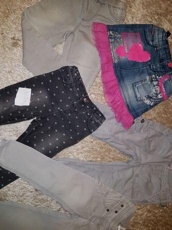 98/104 4x spodnie i legginsy oraz spódniczka firmówki