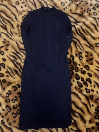 Теплое платье, черное, длинное