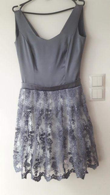 Sukienka krótka rozkloszowana koronka wesele komunia rozm 38