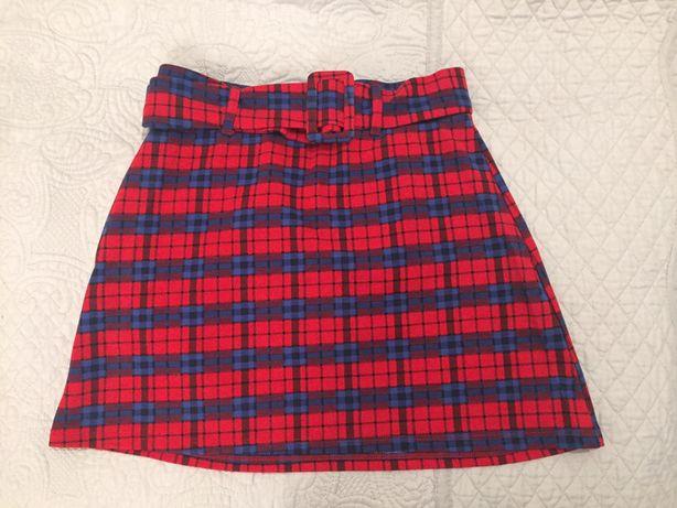 Czerwona spódniczka w kratkę z paskiem C&A