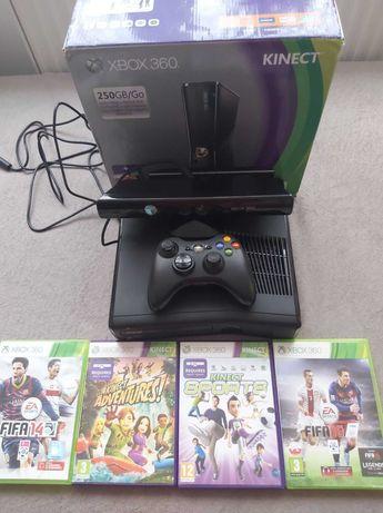 Konsola Xbox360 Slim 250Gb kinect i gryy, stan idealny + wymianna