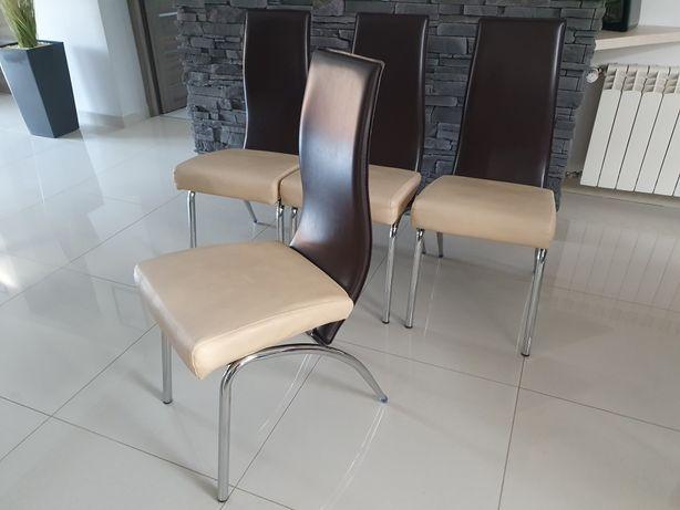 Krzesło krzesła tapicerowane ekoskóra beżowe/ciemny brąz Halmar