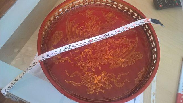 Taca ręcznie malowana boki wyplatane