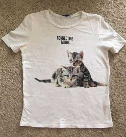 Biały T-shirt Zara M Super Styl Siwiec