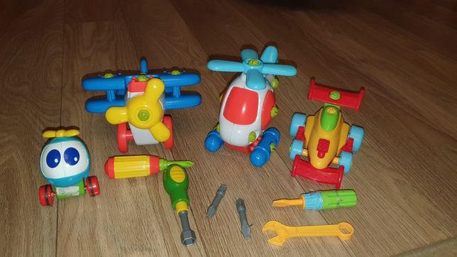 Samolot, helikopter, wyścigówka.