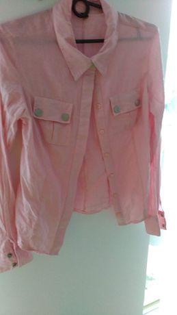 Koszula w paski biało-różowe, r. 40