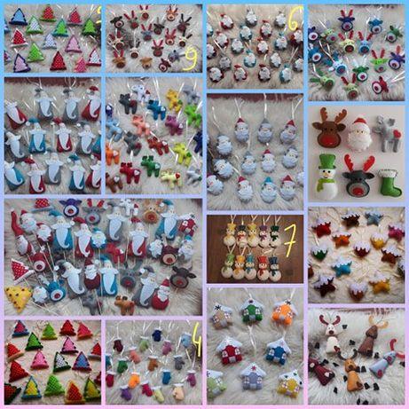 Ozdoby bożonarodzeniowe dekoracje zabawki na choinkę ręcznie szyte