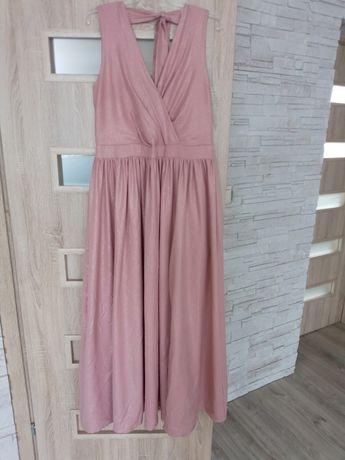 Sukienka maxi długa pudrowy róż 42-44