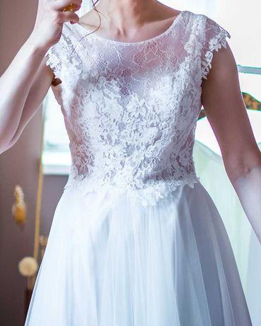 Maggio Ramatti - suknia ślubna - Kreta (r.36) - koronka+jedwabny tiul
