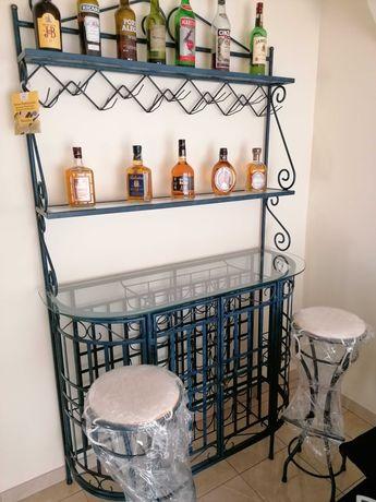 Garrafeira-Bar em vidro e ferro com dois bancos