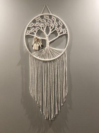 Drzewko szczęścia łapacz snów z imieniem makrama