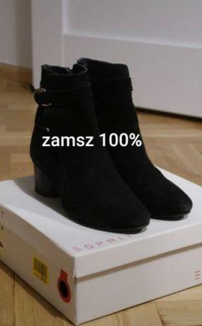 czarne zamszowe buty botki Esprit rozm, 39 skóra