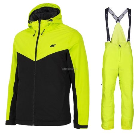 MĘSKI Kombinezon narciarski 4F kurtka+spodnie Blizzard ISCHGL lime