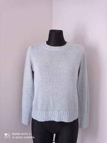 Błękitny baby blue sweterek damski na długi rękaw H&M rozmiar XS
