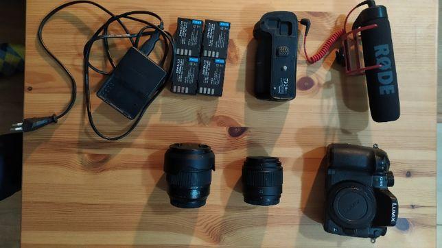 Zestaw Lumix GH4, Obiektywy; 12-60mm, 25mm, mikrofon, 5x akumulatory