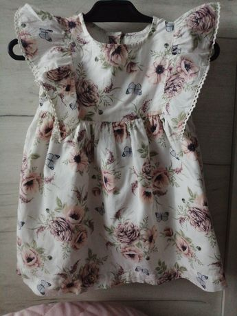 Sukienka i kapelusz  motyle, kwiaty Newbie 80 rozmiar