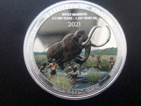20 Francos da República do Congo 2020 prata pura 0,999 do Mamute