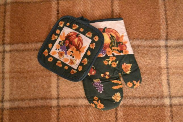 Набор (рукавичка, перчатка для духовки, варежка, рукавиця+ прихватка)
