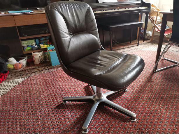 Fotel skórzany Chromcraft Furniture brązowy design lata 70 krzesło