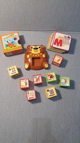 Обучающие буквам кубики медвежонка ыха серии у тетушки совы и карточки