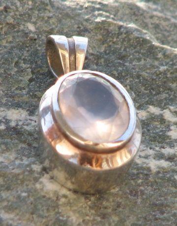Wisiorek kwarc różowy srebro 925