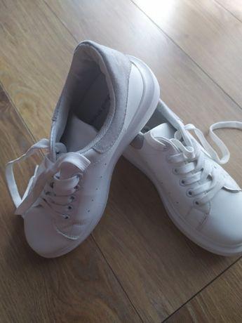 DAMSKIE młodzieżowe buty SPORTOWE rozm. 36 białe z szarym Ideal Shoes