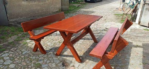 Drewniany zestaw ogrodowy stół i ławki dąb