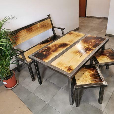 Komplet mebli meble loft industrial stół taborety ławka