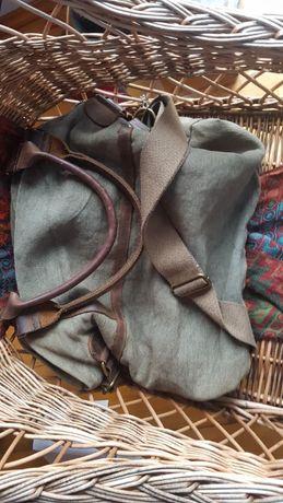 Piękna,niepowtarzalna ,lniano- skórzana torba