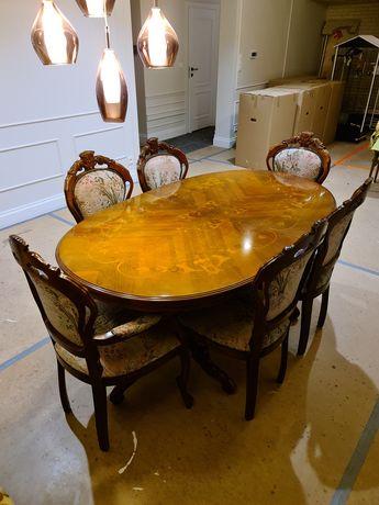 Stół Neobarok intarsa, duży + 6 krzeseł