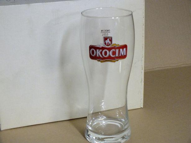 Szklanki 6 szt. do piwa Okocim 0,5 L, kolorowe logo, kufel, pokal