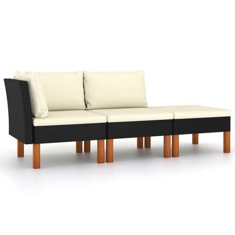 vidaXL 3 pcs conj. lounge jardim vime PE e madeira de eucalipto maciça 315766