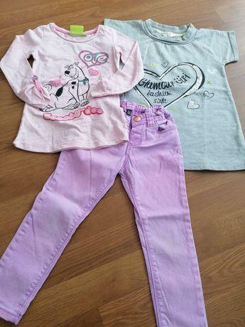 Tunika spodnie bluzka 98 jeans fioletowy Scooby dresowa
