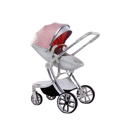 Коляска детская для новорожденных 2 в 1 Розовая с серебром