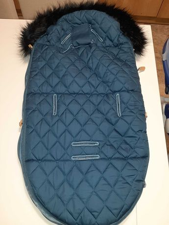 Śpiworek zimowy Lela Blanc do gondoli i fotelika granatowy petrol blue