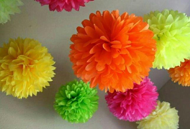 Помпоны, бумажные цветы 15 см( фотозона, декор, шарики)