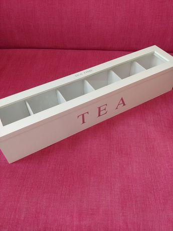 białe pudełko na herbatę herbaciarka herbaty szkatułka
