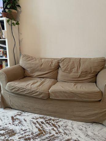 Kanapa sofa ikea khaki beż kwiaty bialo czarne