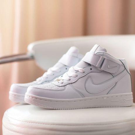 6117 Nike Air Force 1 Mid белые кроссовки мужские мех зима ботинки