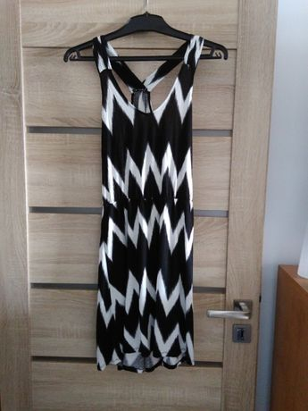 sukienka biało-czarna S przewiewna
