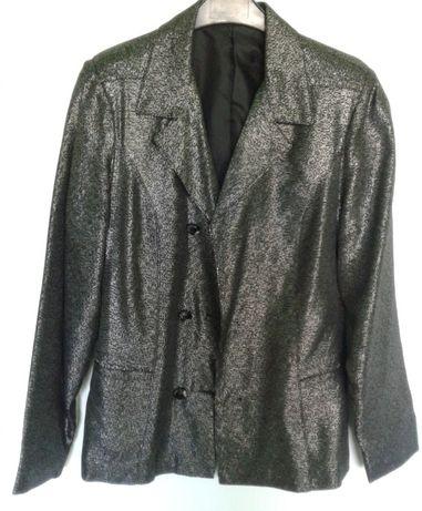 Пиджак, жакет женский черный с серебристой нитью. 46 размер. 150 руб