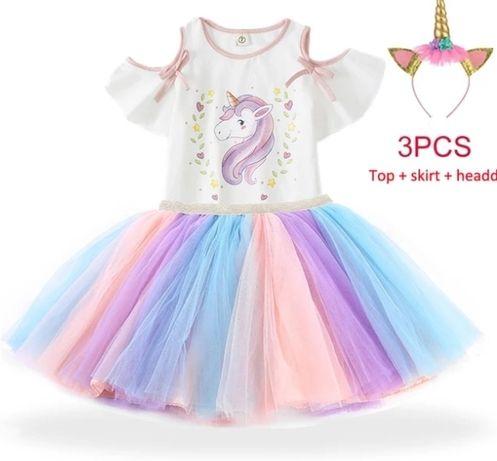 Conjunto unicornio com bandelete