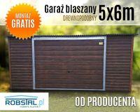 Garaż drewnopodobny 5x6m brama uchylna do góry wzmocniona blacha
