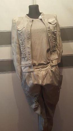 Super komplet trzy części kurtka spodnie i top