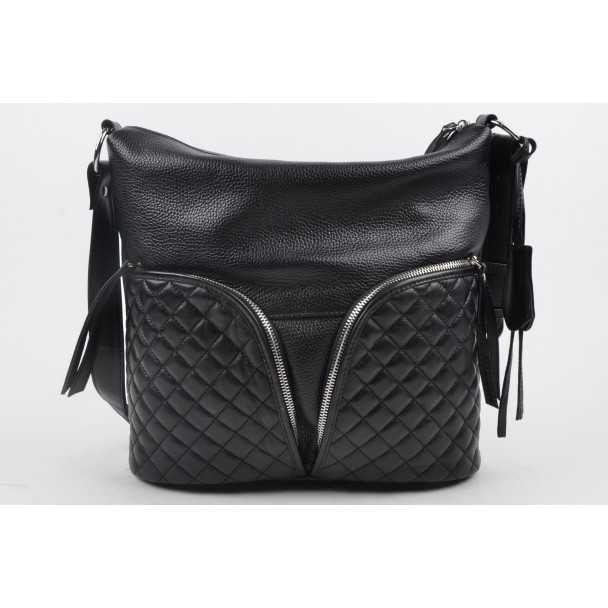 Женская кожаная сумка Giorno черная 2126762