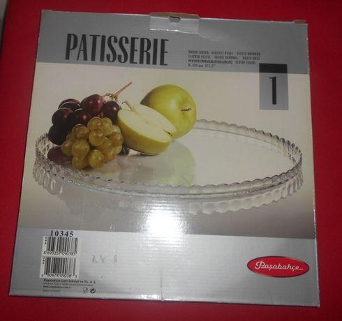Bonito prato grande de vidro para bolos. NOVO. Caixa original. 32 cm.