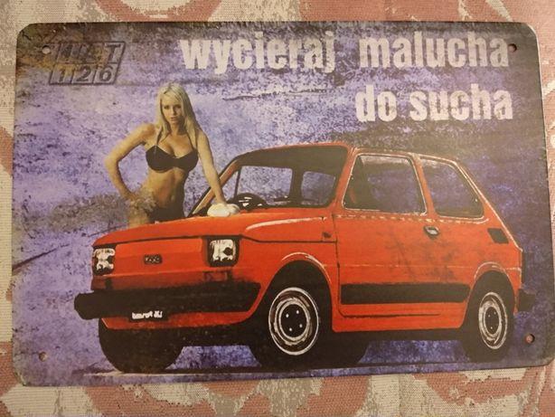 Tablica reklamowa, stary samochód maluch fiat 126p fso wsk, oldtimer