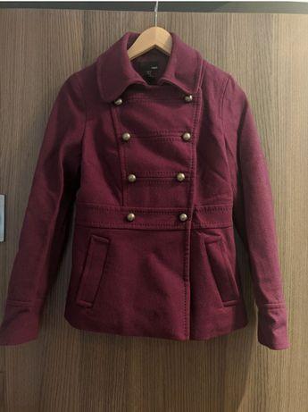Fioletowy płaszcz wełniany krótki wełna S